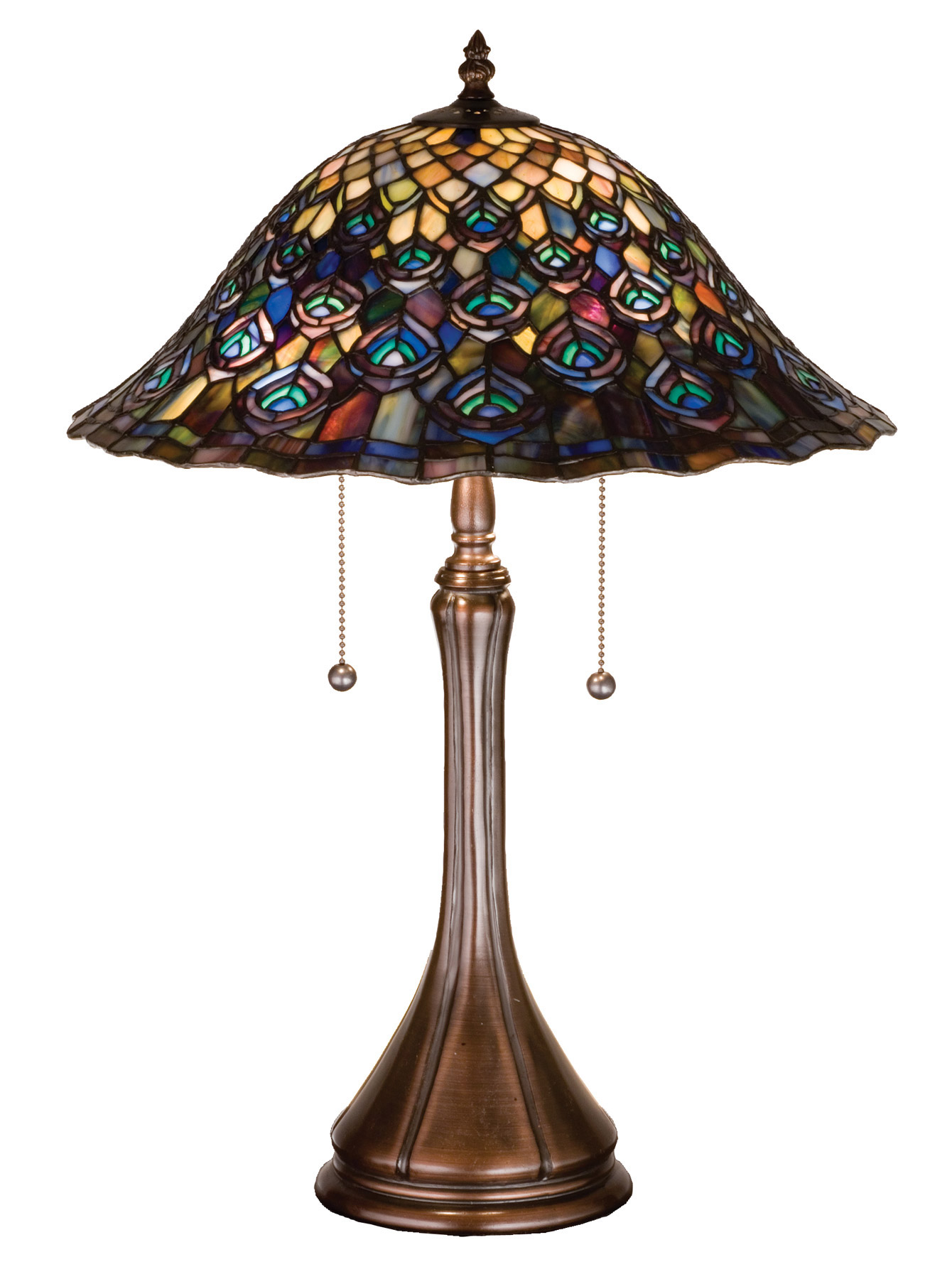 Meyda 14574 Tiffany Peacock Feather Table Lamp