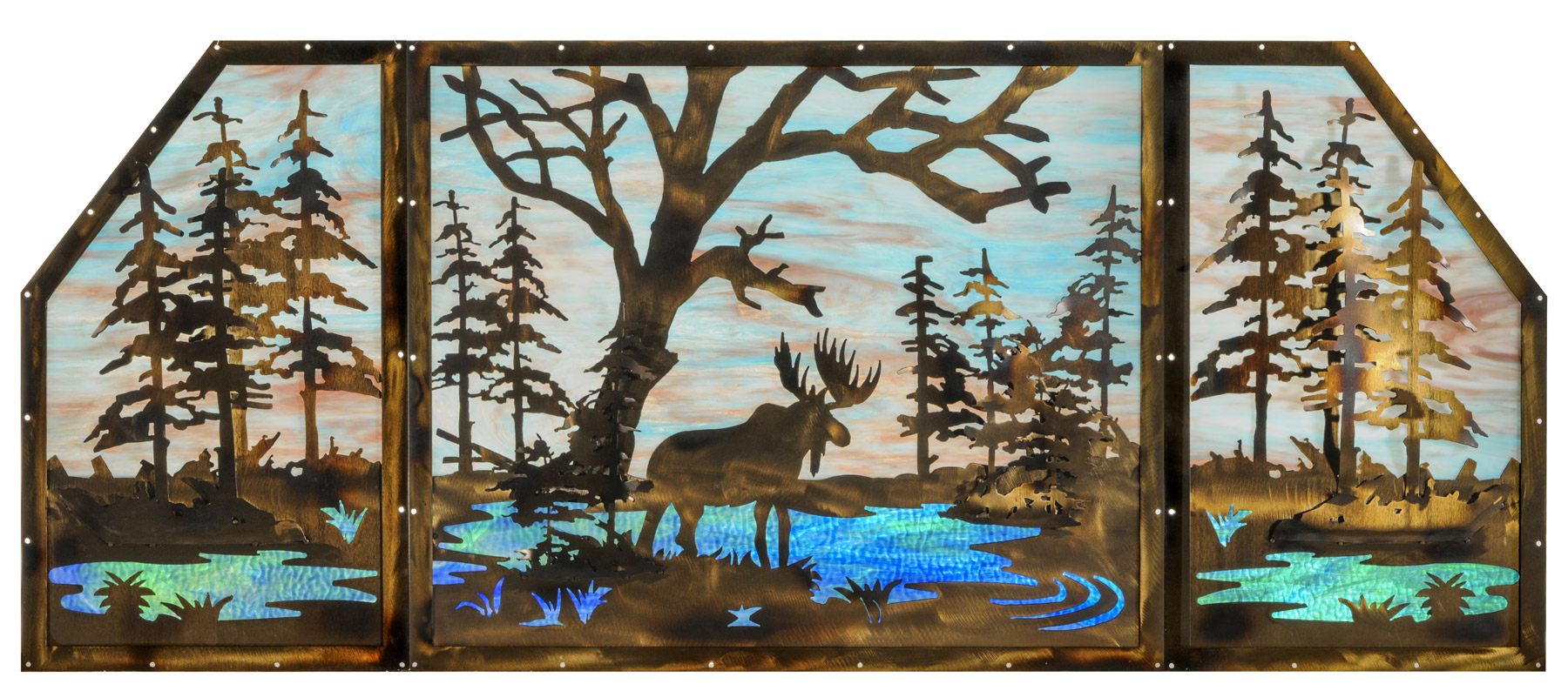 Meyda 147850 Moose At Lake Stained Glass Window