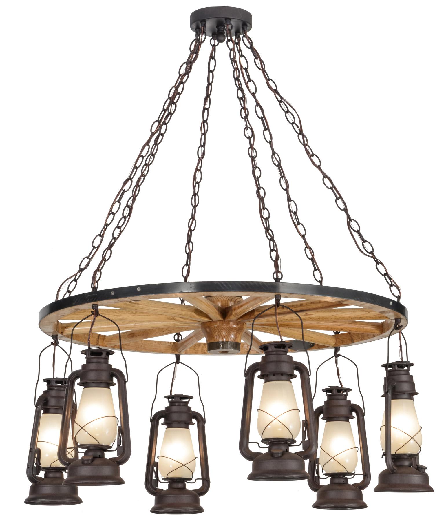 Meyda 151906 Miners Lantern Wagon Wheel Chandelier