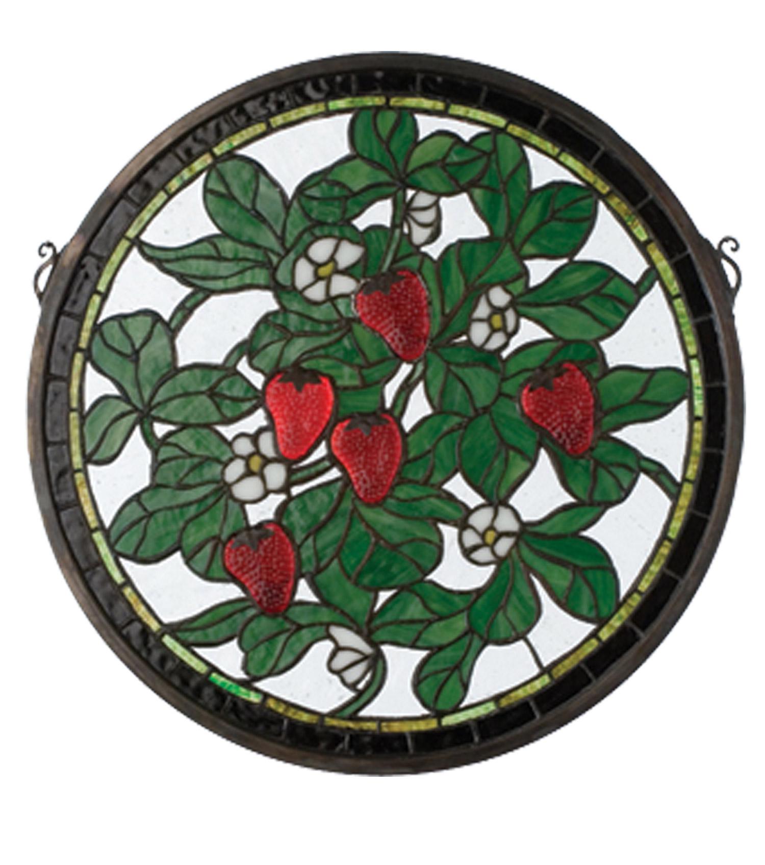 Meyda 20728 Tiffany Strawberry Medallion Stained Glass Window