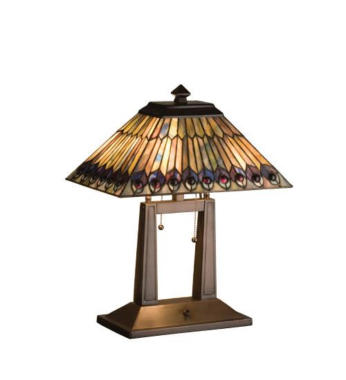 Meyda 26300 Tiffany Jeweled Peacock Desk Lamp