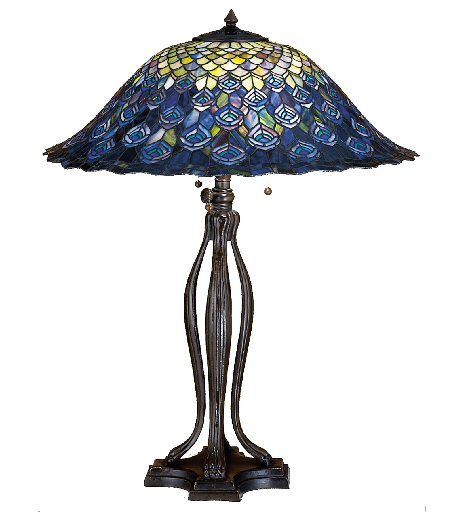 Meyda 28504 Tiffany Peacock Feather Table Lamp
