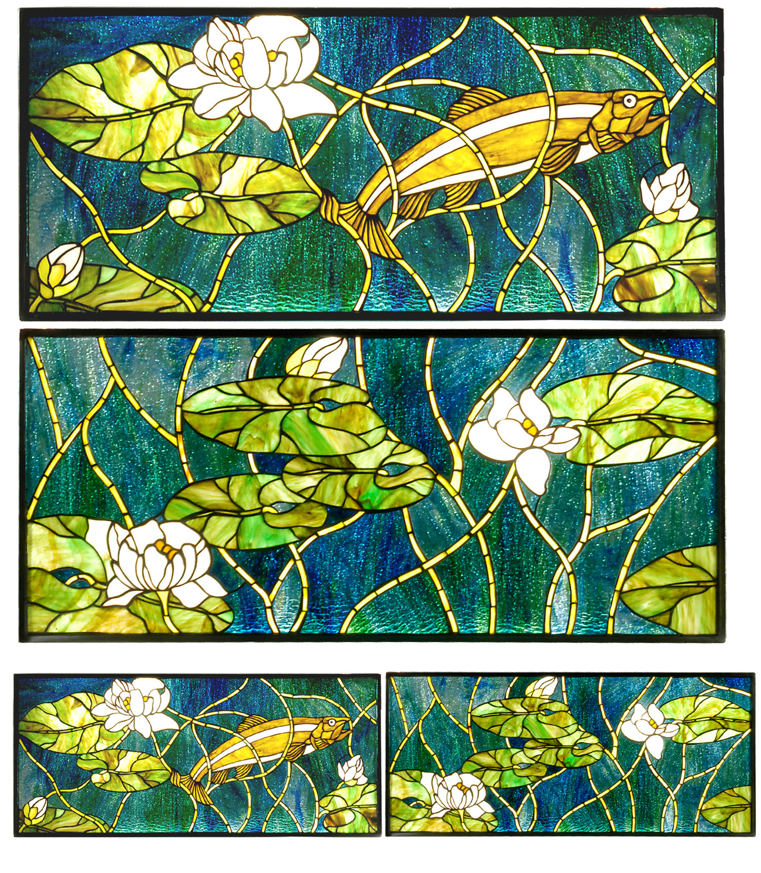 Meyda 28718 Tiffany Trout & Water Lilies Three Piece ...