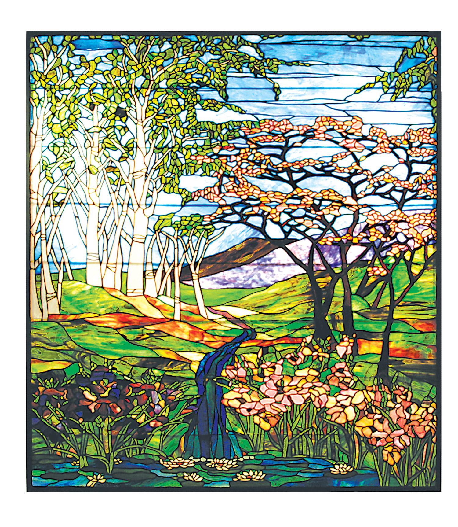 Meyda 29653 Tiffany Waterfall Iris Amp Birch Stained Glass Window