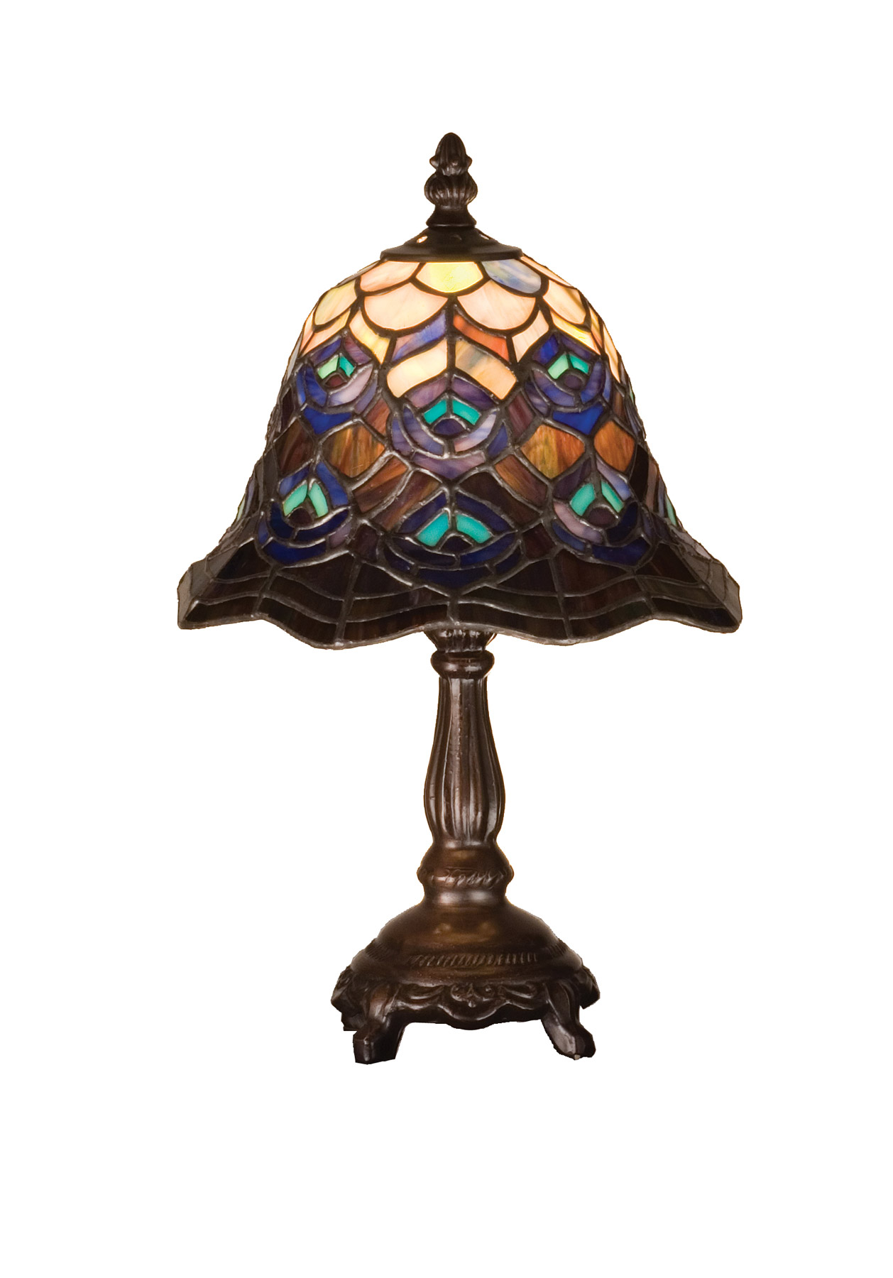 Meyda 30317 Tiffany Peacock Feather Mini Lamp