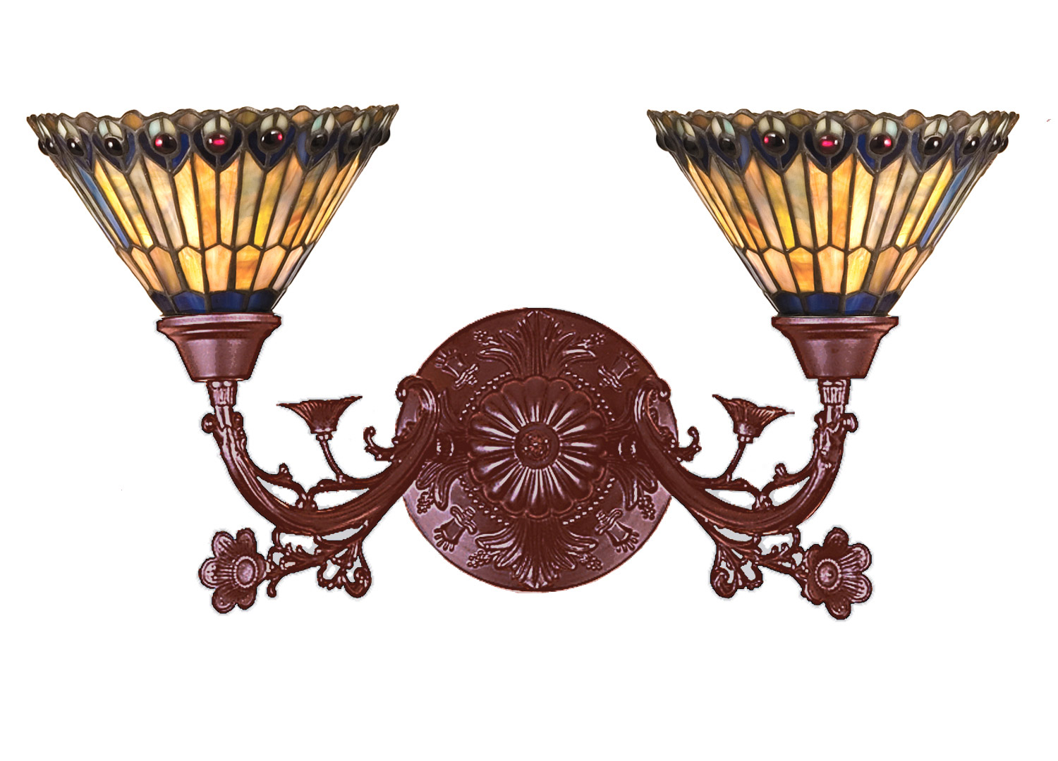Jeweled Wall Sconces : Meyda 31971 Tiffany Jeweled Peacock Wall Sconce