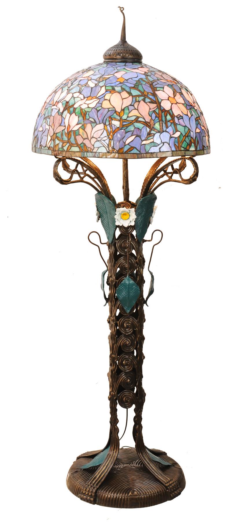 meyda 49874 tiffany magnolia nouveau floral floor lamp With tiffany magnolia floor lamp