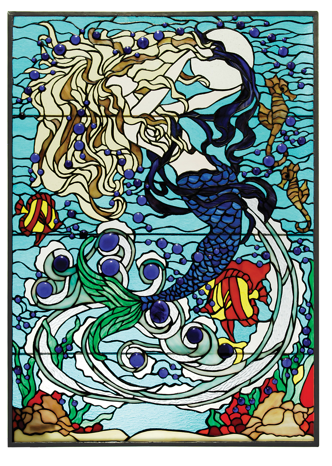 Free Mermaid Stained Glass Coloring Pages