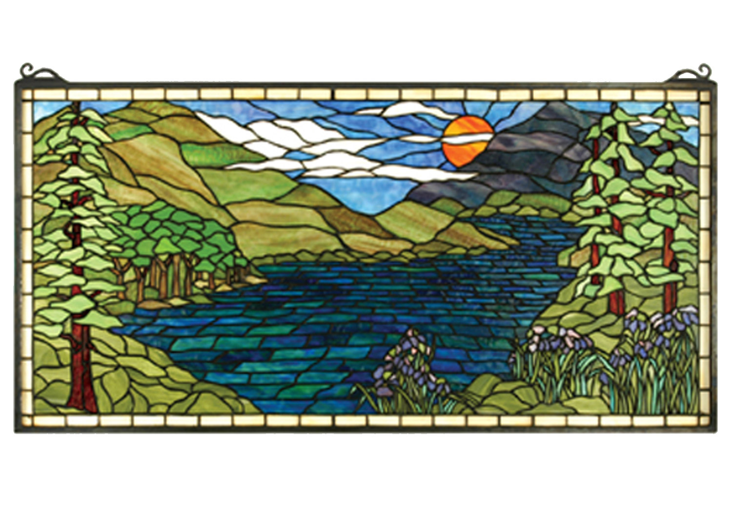 Meyda 65497 Tiffany Sunset Meadow Stained Glass Window