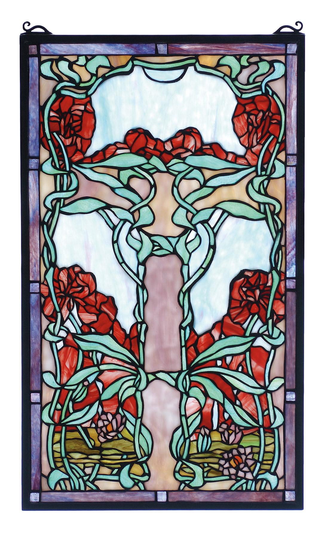 Meyda 65711 tiffany nouveau waterlily stained glass window for Art glass windows