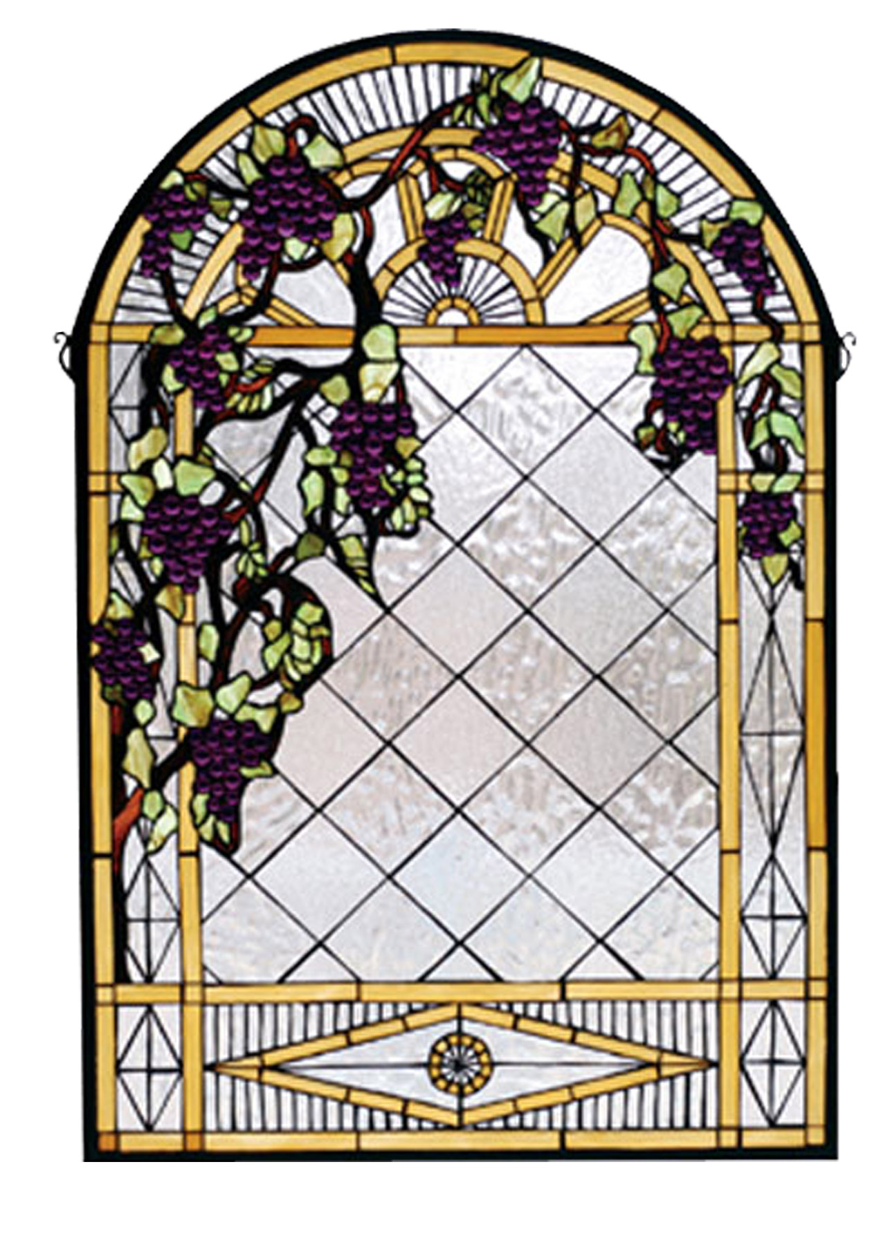 Meyda 66048 Tiffany Grape Diamond Trellis Stained Glass Window