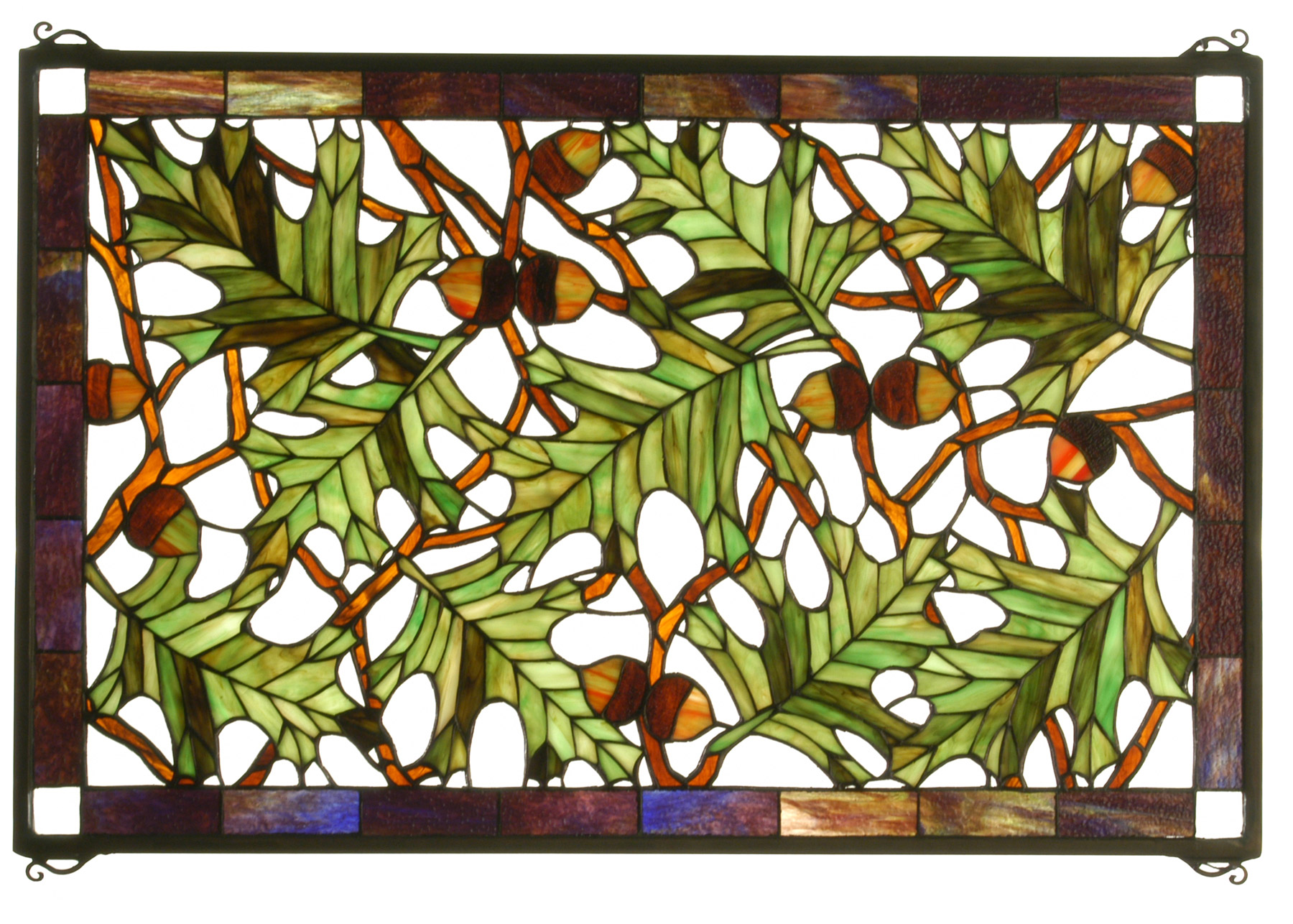 Meyda 66276 Acorn Oak Leaf Stained Glass Window