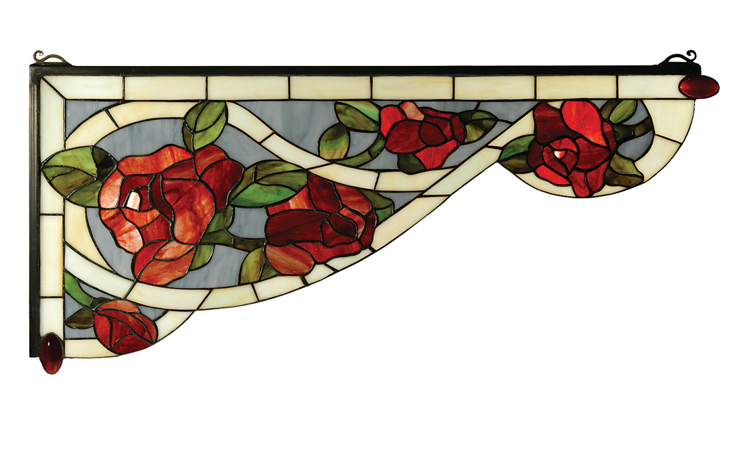 Meyda 66383 Tiffany Bed Of Roses Stained Glass Left Corner