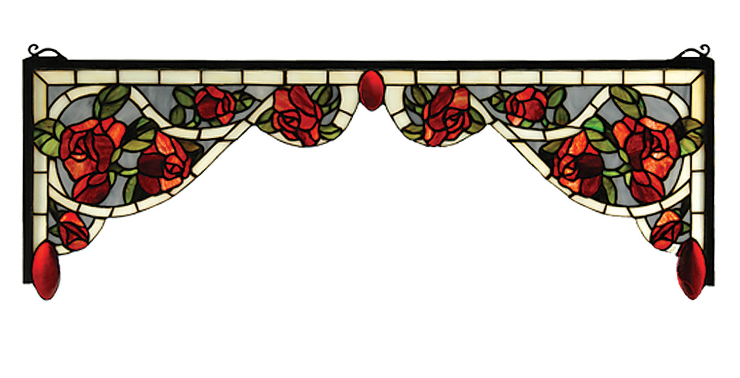 66389 tiffany bed of roses stained glass corner bracket