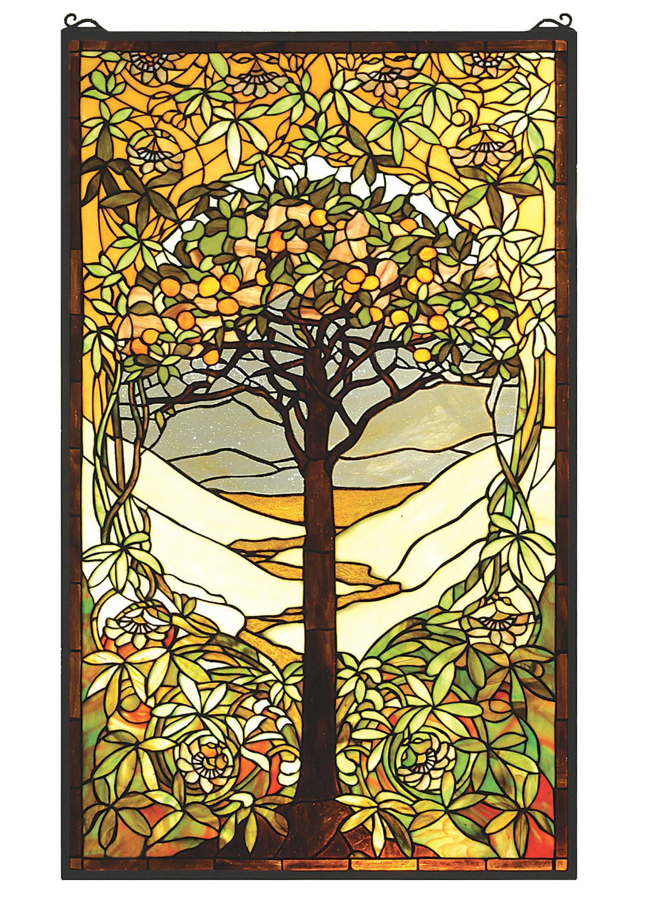 Meyda 66668 tiffany tree of life stained glass window for Art glass windows