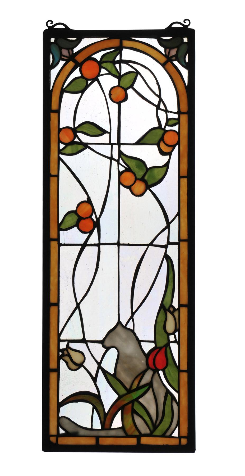 Meyda 67117 Tiffany Tulip Amp Peaches Stained Glass Window