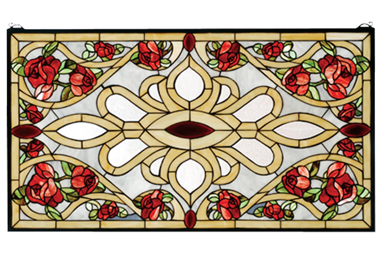 Meyda 67139 Tiffany Rose Stained Glass Window