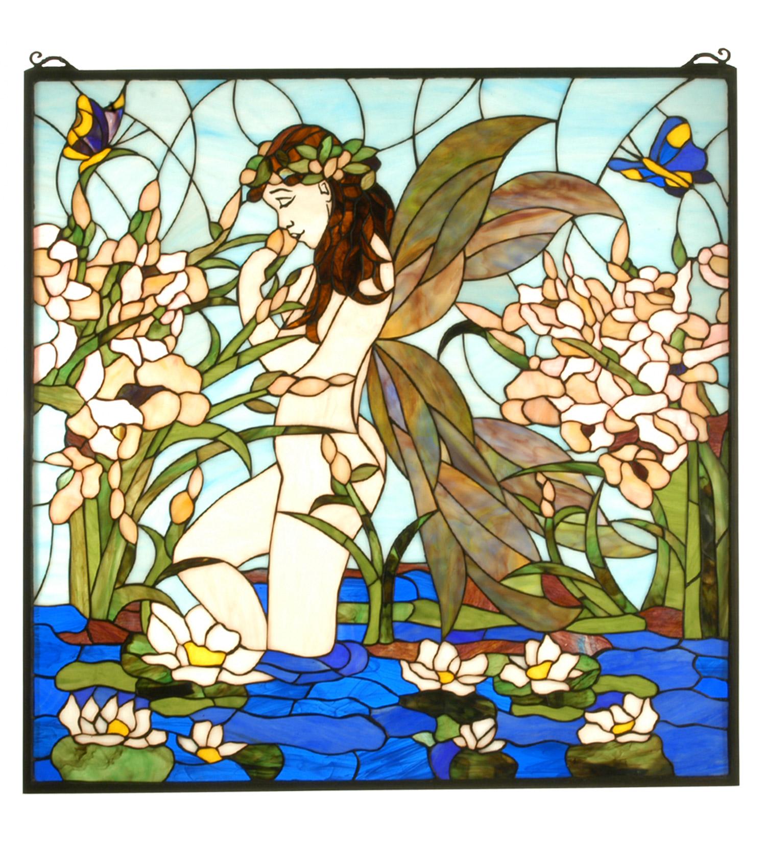 Meyda 67521 Tiffany Fairy Pond Stained Glass Window