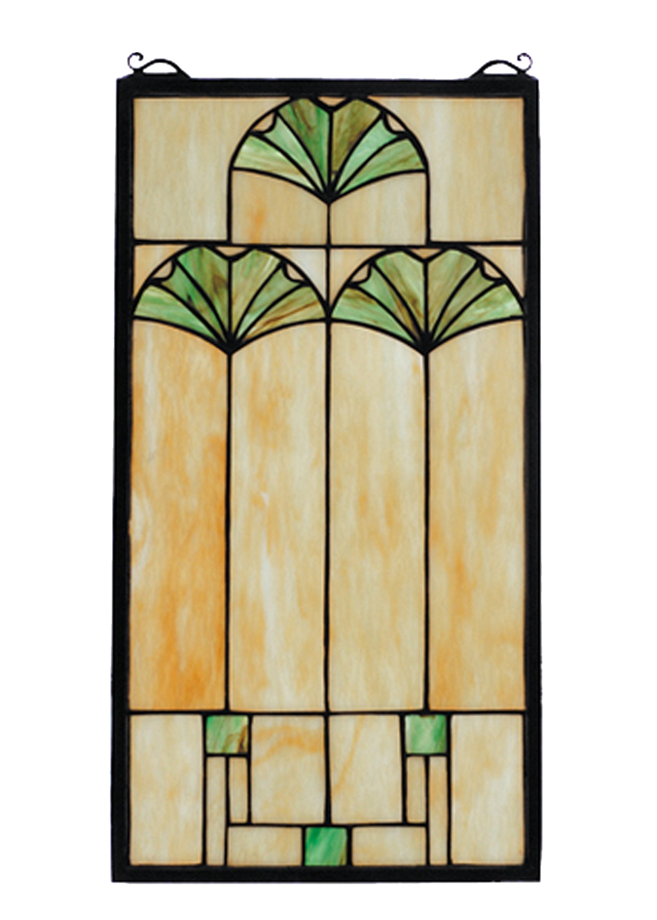 Meyda 67787 Tiffany Arts & Crafts Ginkgo Stained Glass Window
