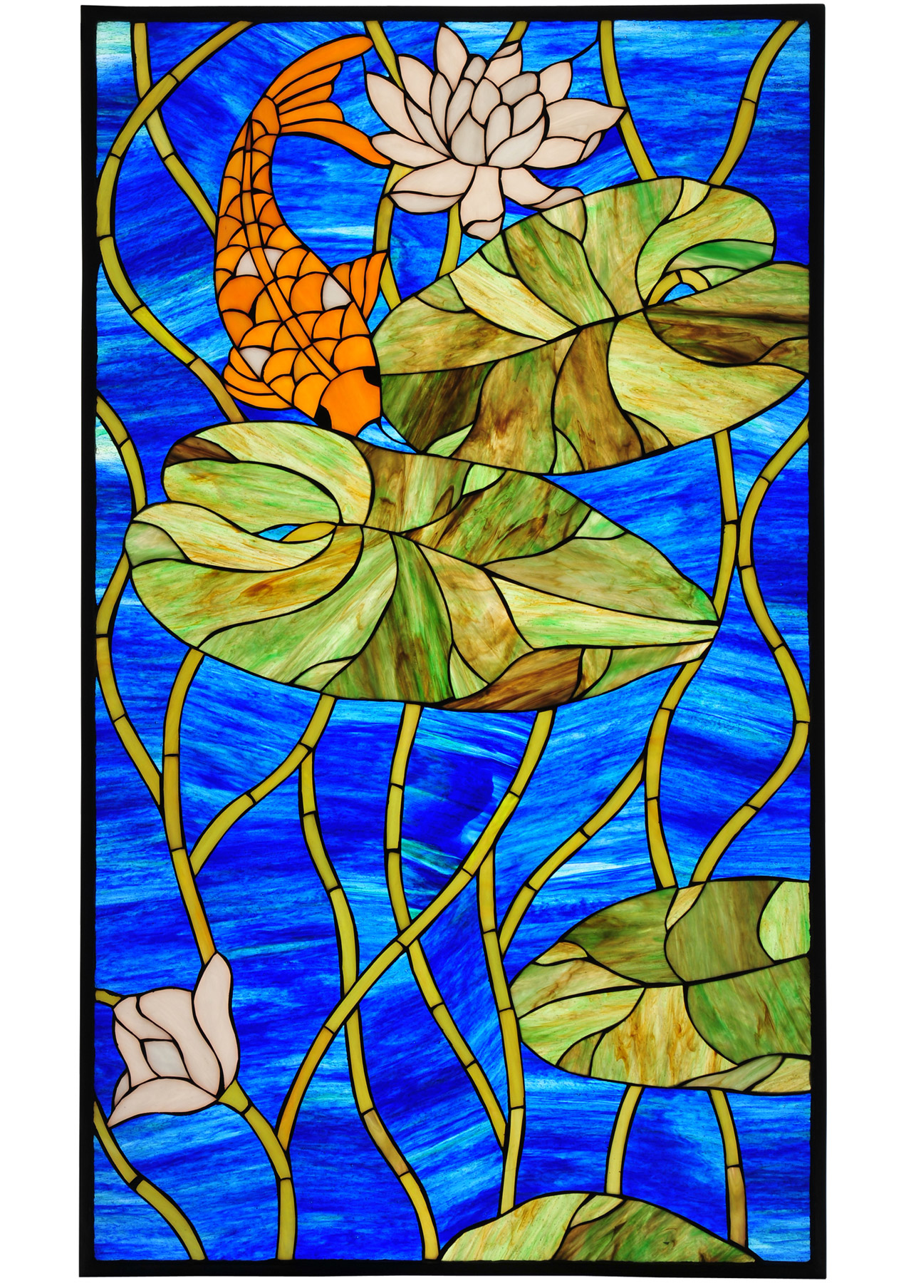 Meyda 67793 Tiffany Koi Pond Lily Stained Glass Window