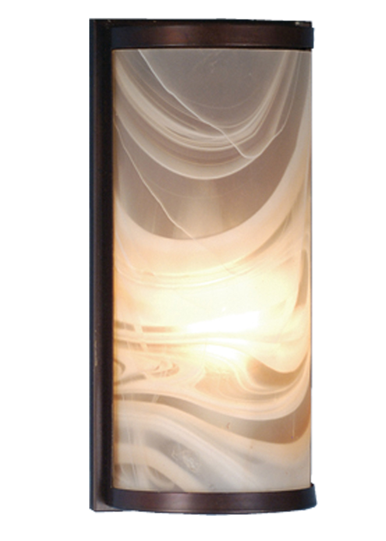 Fused Glass Wall Lights : Meyda 68813 Cylinder Blush Swirl Fused Glass Wall Sconce