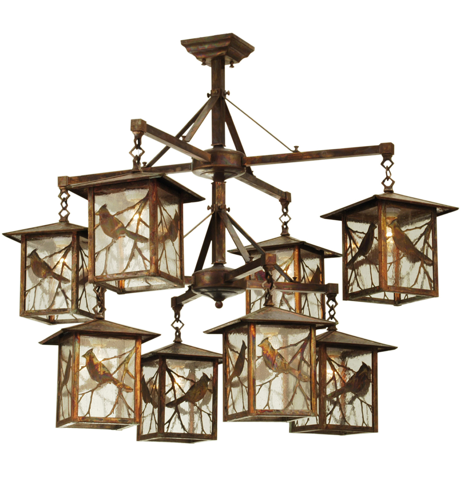 Meyda 69250 Seneca Song Bird Eight Light Hanging Lantern Chandelier