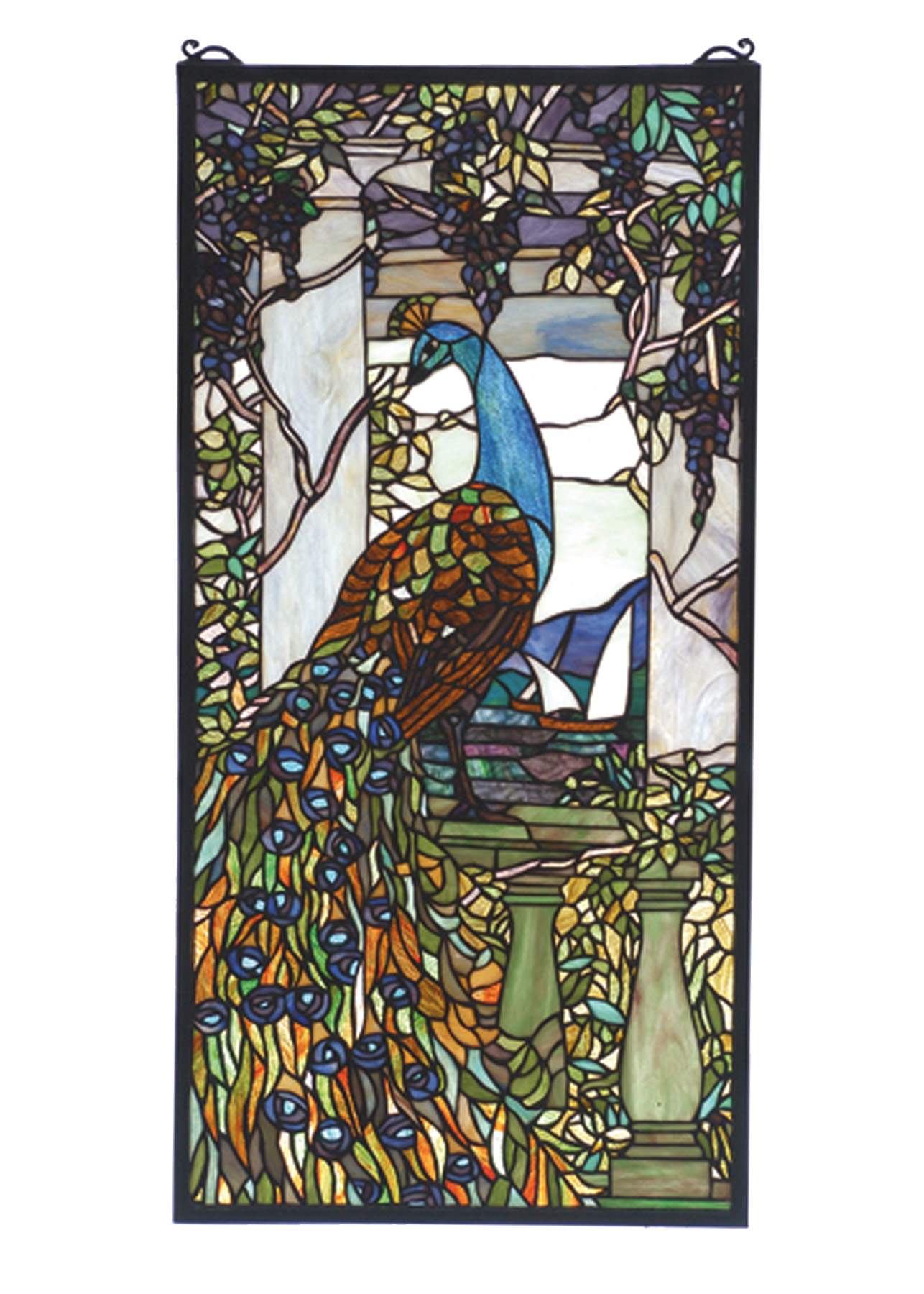 70519 tiffany peacock stained glass window
