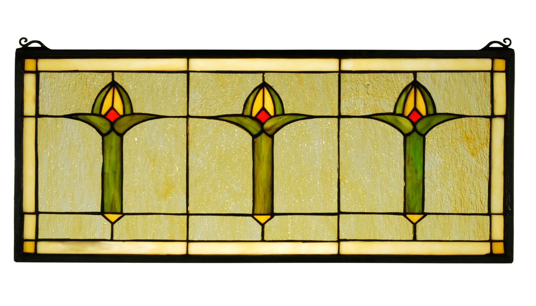 Meyda 71309 arts crafts bud trio stained glass window for Arts and crafts glass
