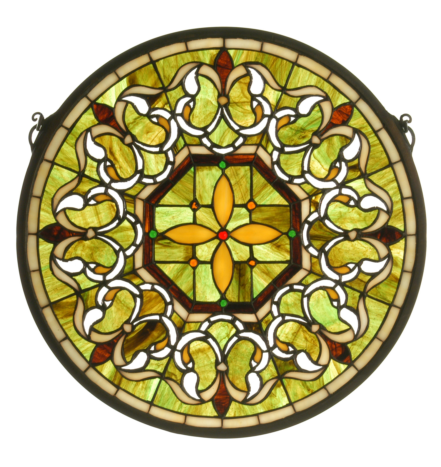 fleur tiffany glass medallion stained window meyda lis de