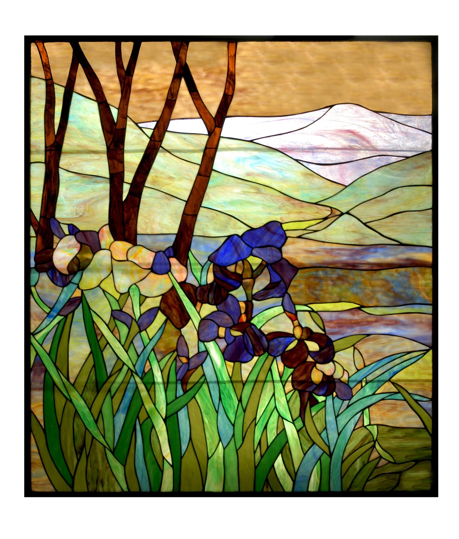 Meyda 72473 Tiffany Iris Custom Stained Glass Window
