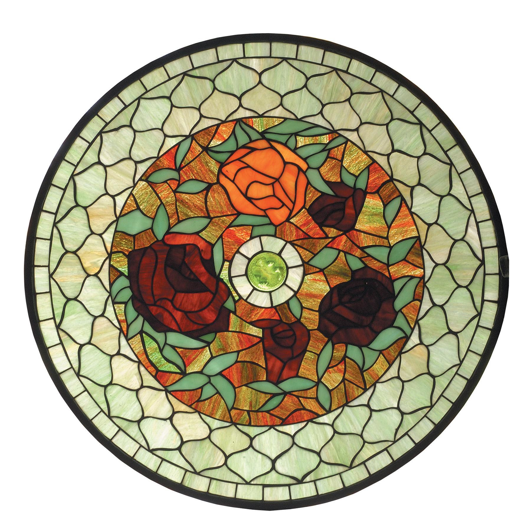 Meyda 73103 tiffany rosebush round stained glass window for Window design round