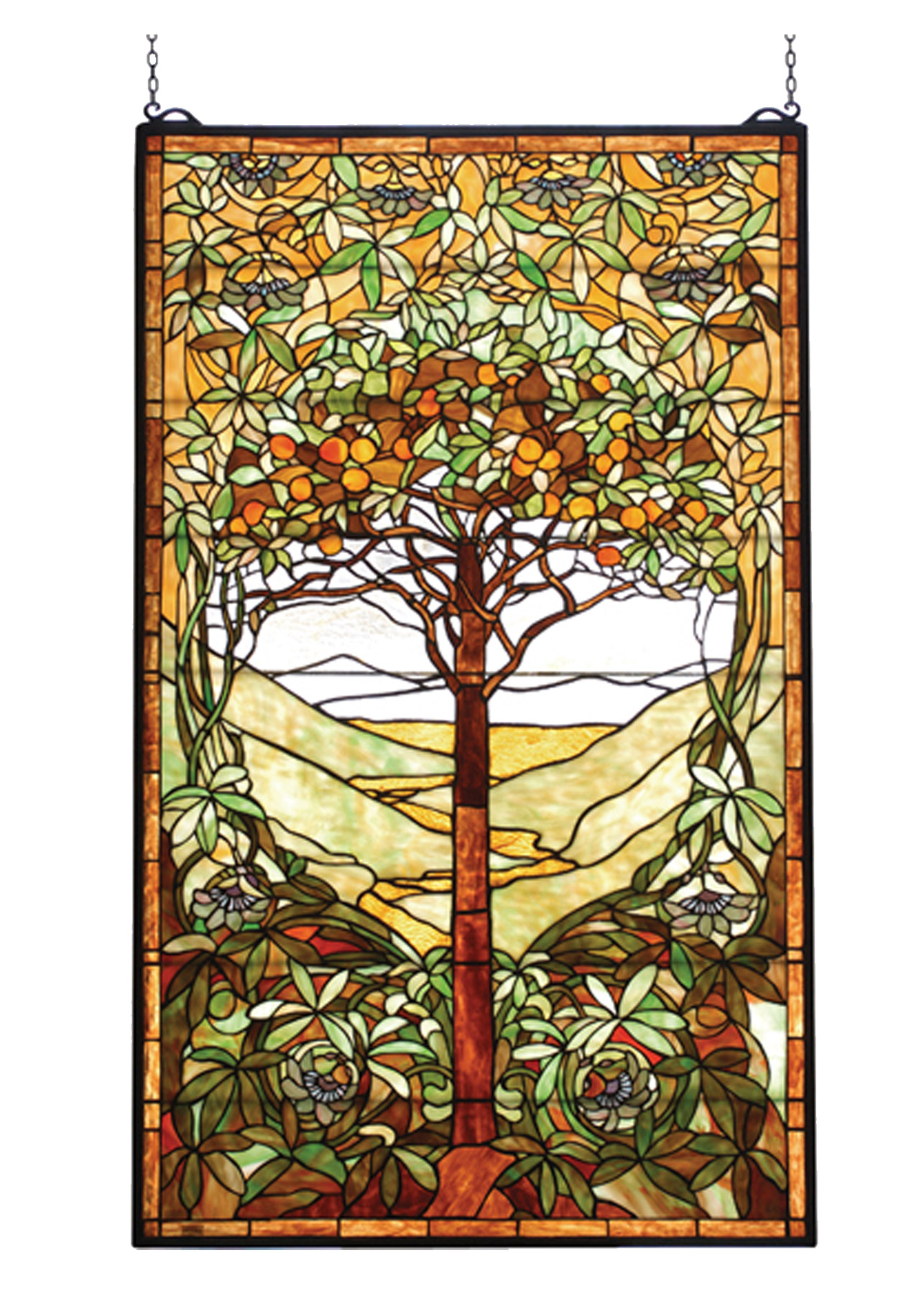 Meyda 74065 tiffany tree of life stained glass window for Decorative stained glass windows