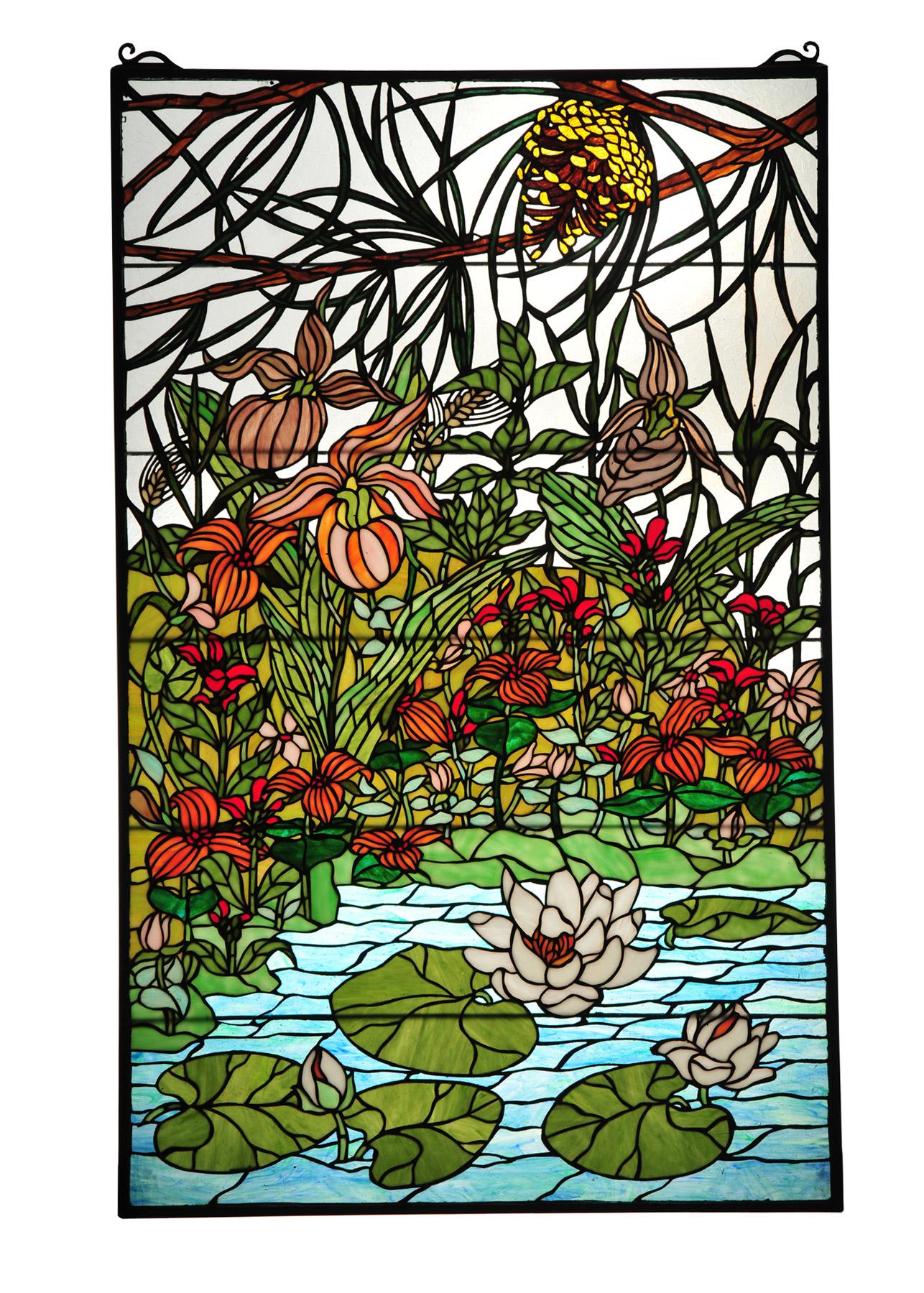 Meyda 77661 Tiffany Woodland Lilypond Stained Glass Window