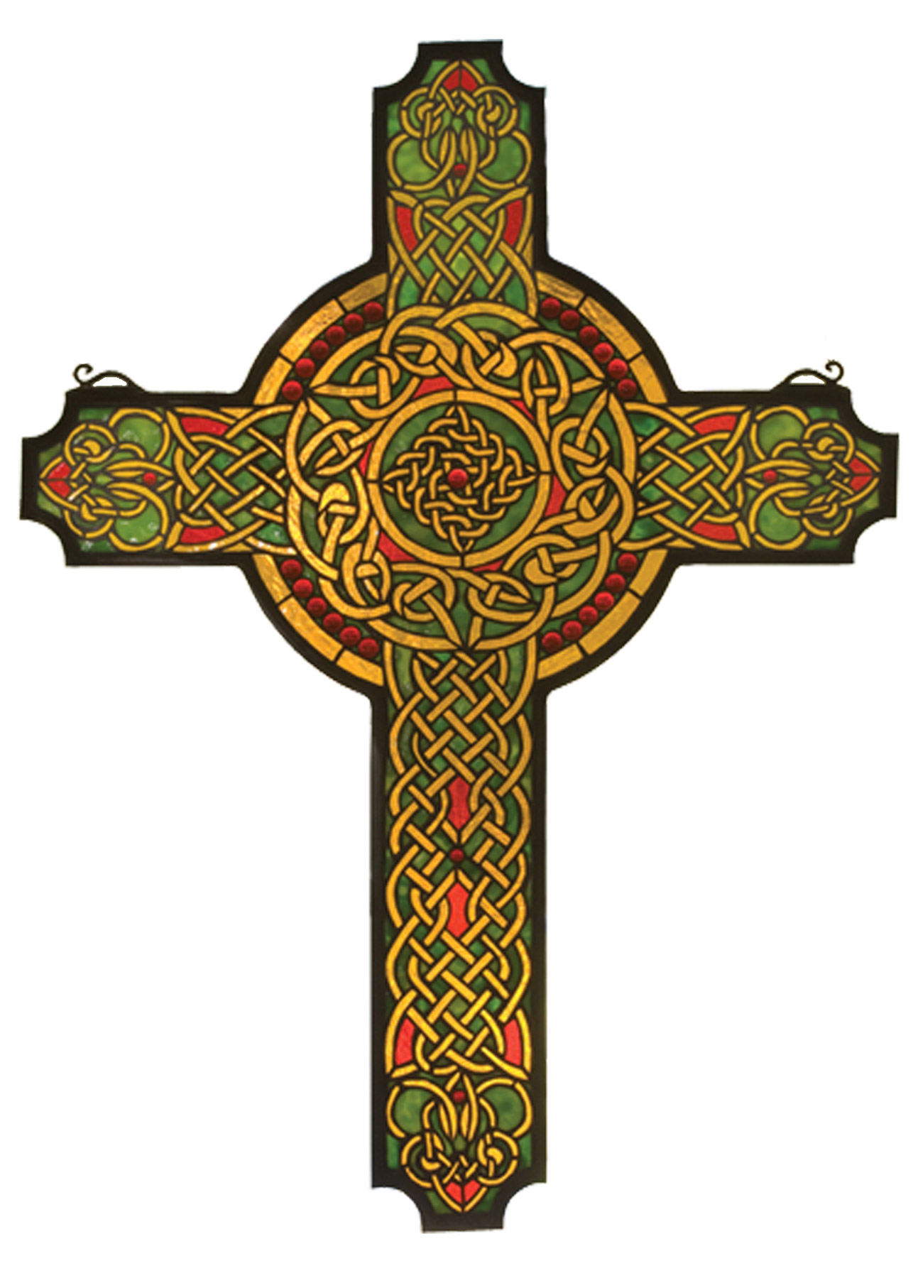 Meyda 79986 Tiffany Jeweled Celtic Cross Stained Glass Window