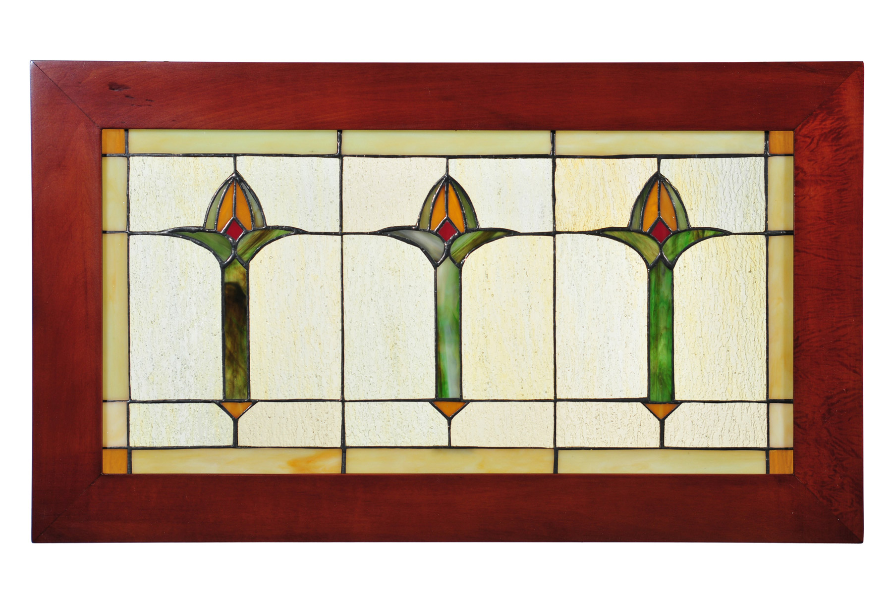 Arts and crafts style windows - Arts And Crafts Stained Glass Window Craftsman Mission Arts Crafts Bud Trio Wood Frame Stained