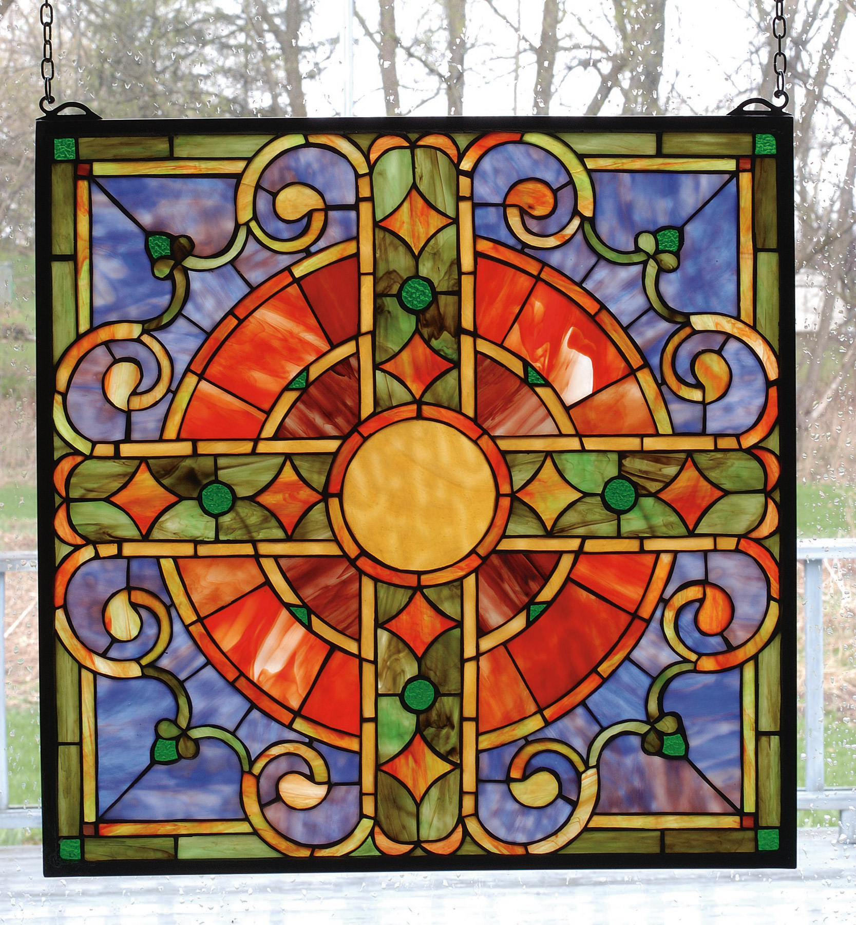 98084 Tiffany Medieval Cross Stained Glass Window