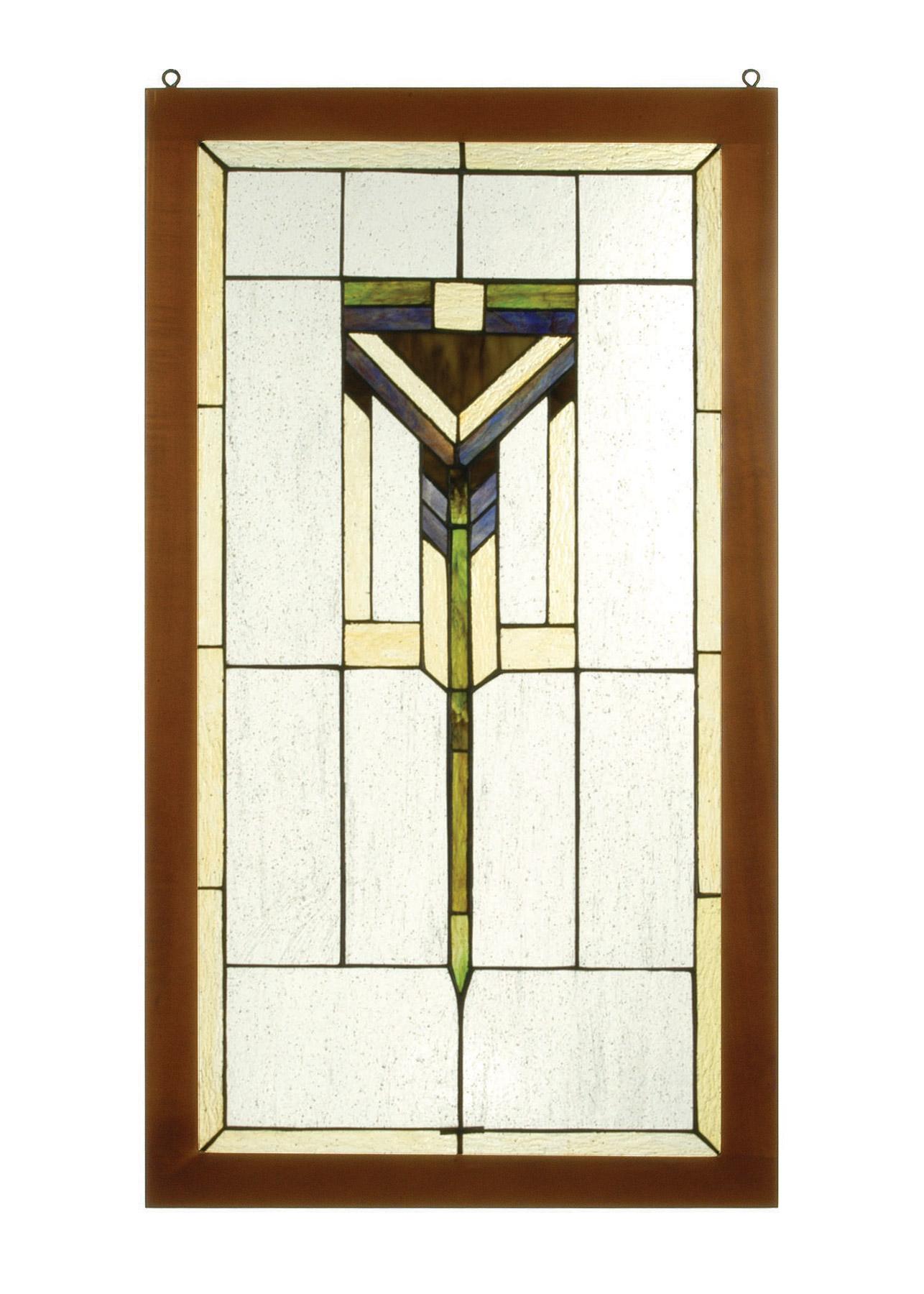 meyda 98099 tiffany prairie wood frame stained glass window