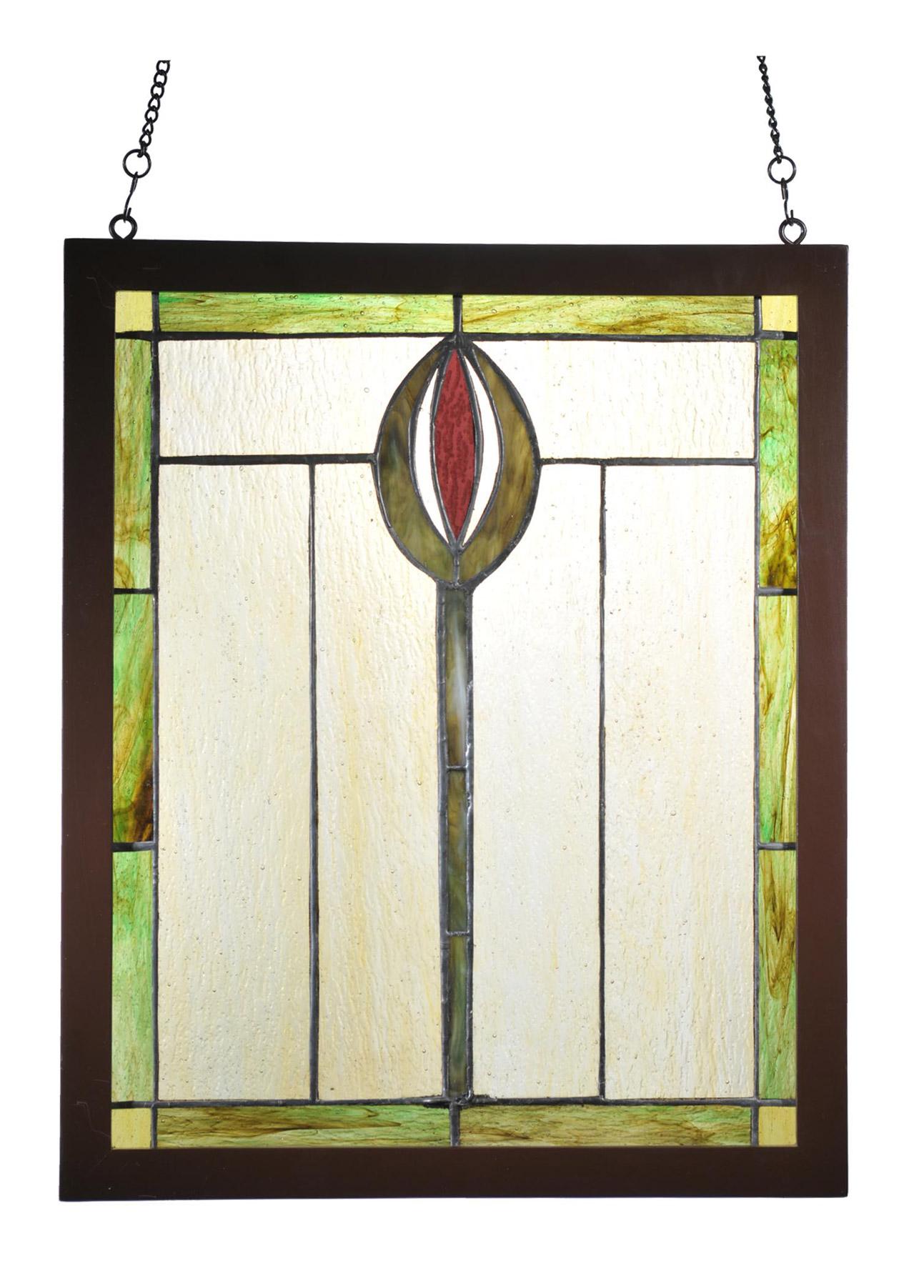 Meyda 98100 Tiffany Spear Wood Frame Stained Glass Window