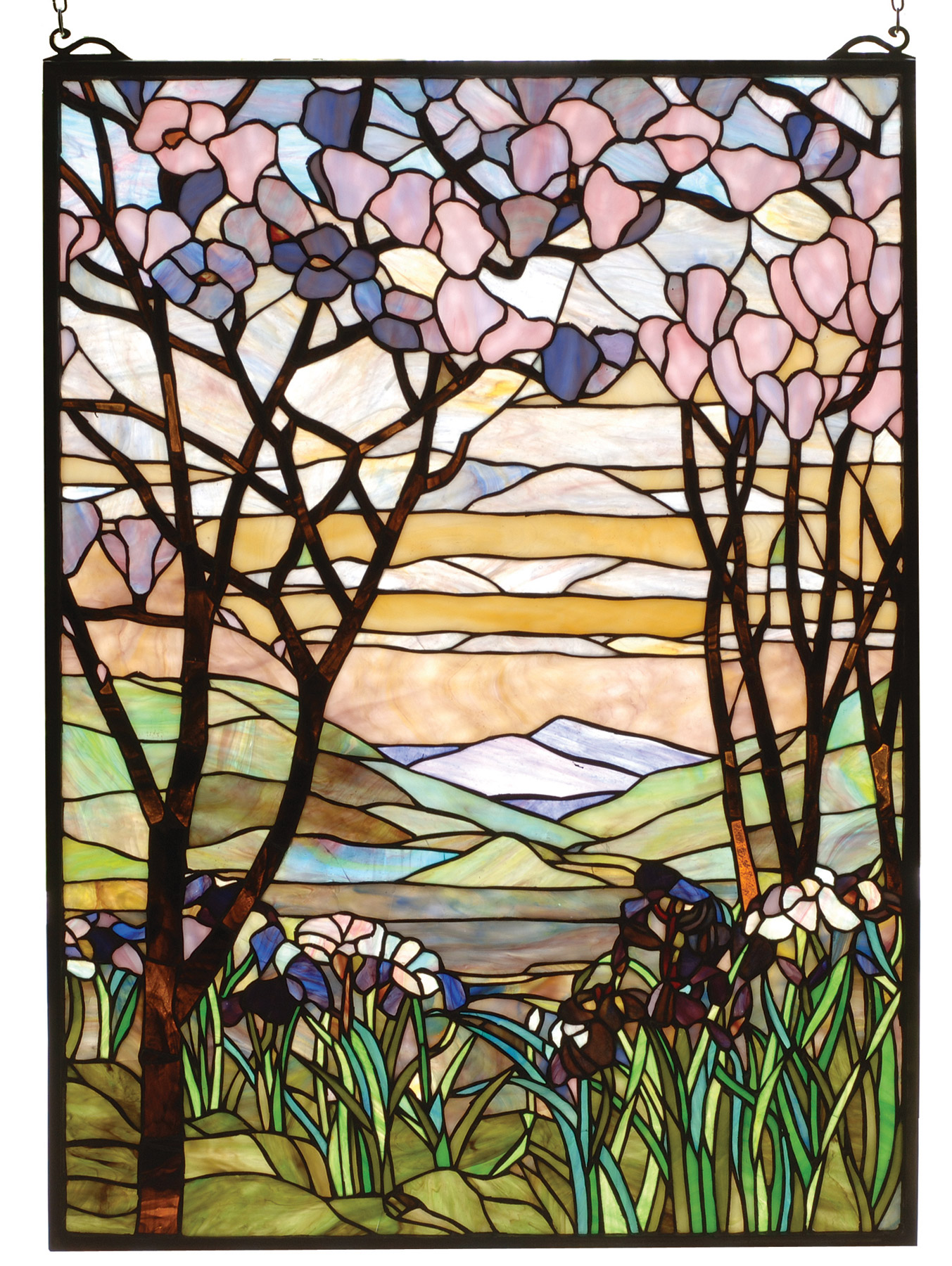 Meyda 98589 Tiffany Magnolia Amp Iris Stained Glass Window
