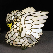 Meyda 10282 Swan Tiffany Glass Accent Lamp