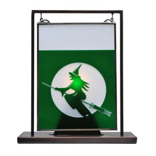 Meyda 106244 Witch on Broom Etched Lighted Mini Tabletop Window