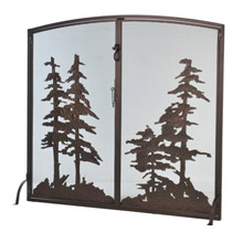 Meyda 106333 Tall Pines Tall Pines Operable Door Arched Fireplace Screen