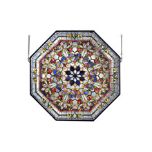 Meyda 107224 Tiffany Front Hall Floral Stained Glass Window