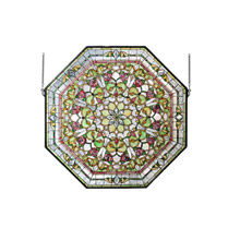 Meyda 107225 Tiffany Front Hall Floral Stained Glass Window