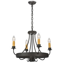 Meyda 112633 Franciscan Four Light With DownLight Chandelier