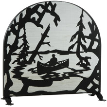 Meyda 124963 Canoe At Lake Arched Fireplace Screen