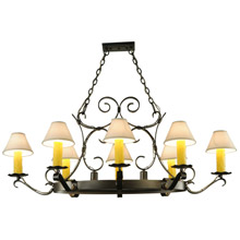 Meyda 141127 Handforged Oval 8 Arm Chandelier with Downlights