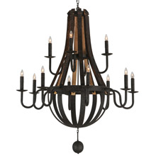 Meyda 143858 Barrel Stave Madera Twelve Light Chandelier