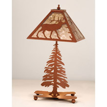 Meyda 15300 Elk and Pine Tree Mica Table Lamp