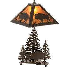 Meyda 15380 Buffalo and Pine Trees Mica Table Lamp